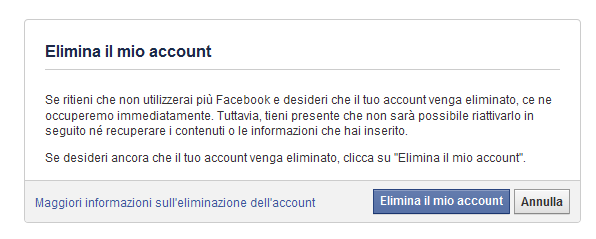 cancellarsi da facebook definitivamente