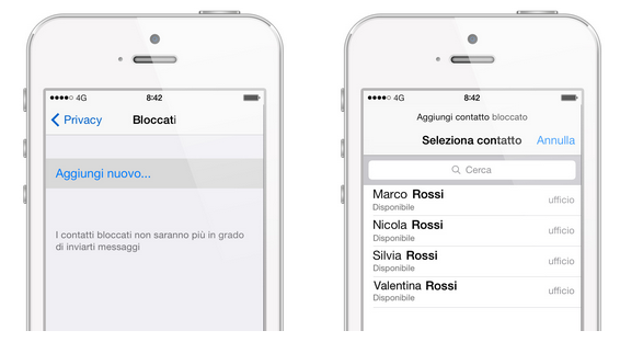 bloccare contatto whatsapp su iphone