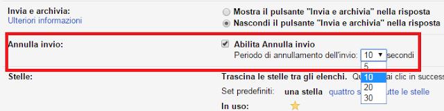 annullare mail inviata su gmail
