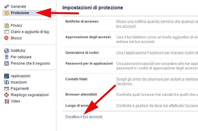 disattiva elimina account facebook